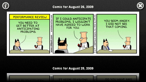 The DailyDilbert widget loads and displays the daily Dilbert comic strips from the last seven days using the RSS feed from Dilbert.com