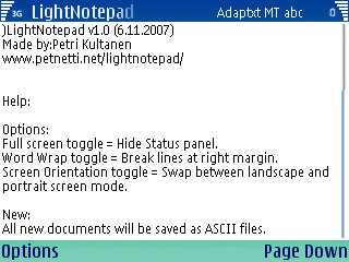 Symbian LightNotepad v1.58 freeware