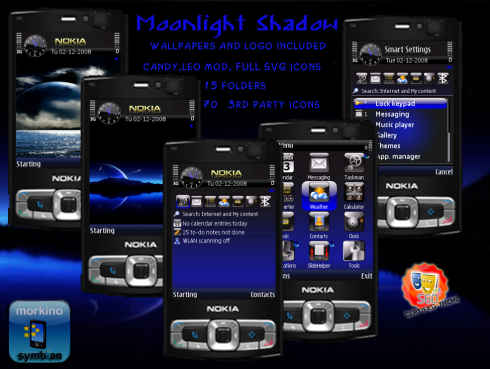 Moonlight Shadow theme skin for Sybmbian s60 3th edition by Morkino.