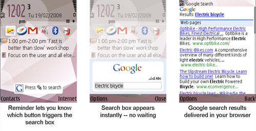 Google Search today screen plugin on windows mobile smartphone